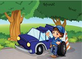 Little Boys,Computer Graphic,Image,Machine Part,Blue,Purple,Motion,Damaged,Tree,replace,Car,Accident,People,Transportation,Mechanic,Bush,Land Vehicle,Machinery,Branch,Men,Repairing,Folded,Surrogate,Tire