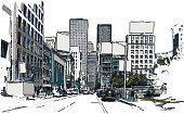 Office Building,Ilustration,San Francisco County,Office Interior,California,Watercolor Paints,Watercolor Painting,House,Cityscape,Built Structure,Building Exterior,Urban Skyline,Vector,Street,Construction Industry,Skyscraper,Town Square,Window,Street Light,Symbol,No People,USA,Car,Tree,Colors,Architecture