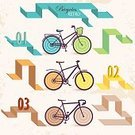 Bicycle,Hipster,Old-fashioned,Retro Revival,Old,Transportation,Wheel,Lifestyles,Sport,Land Vehicle,Style,Computer Graphic,Design,Silhouette,Antique,Design Element,Set,Grunge,Travel,Vector,Ilustration,Painted Image,Collection