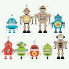Ilustration,Robot,Cyborg,Cartoon,Collection,Cute,Characters,Clip Art,Animated Cartoon,Computer Graphic,Vector,Futuristic,Design Element,Set,Toy,Design,Multi Colored,Technology,Imagination