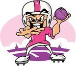 Team Sport,American Football - Sport,Pink Color,Athlete,Muscular Build,Clip Art,Sports Equipment,Purple,White,Vector,Sports Uniform,Football,Ilustration,Passing,Smiling,Football Player