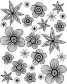 Flower,Black And White,Floral Pattern,Drawing - Art Product,hand drawn,Pattern,Doodle,Ilustration,Backgrounds