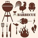 Barbecue Grill,Barbecue,Kitchen Utensil,Symbol,Vector,Silhouette,Grilled,Flame,Sign,Old-fashioned,Chicken - Bird,Livestock,1940-1980 Retro-Styled Imagery,Poultry,Animal Leg,Restaurant,White Meat,Meat,Fork,Food,Brown,Cockerel,Design Element,Set,Nostalgia,Fire - Natural Phenomenon,Knife,Isolated
