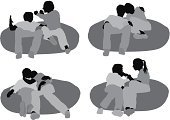 Cut Out,Computer Graphics,People,Casual Clothing,Love,Romance,Bonding,Togetherness,Lifestyles,Horizontal,Full Length,Black And White,Front View,Affectionate,Sitting,Leaning,Embracing,Arm Around,Human Relationship,Heterosexual Couple,Silhouette,Adult,Multiple Image,Cut Out,Bean Bag,Outline,Reclining,Dating,Illustration,Males,Men,Females,Women,Vector,Flirting,White Background,Adults Only,Relaxation,Couple - Relationship,Girlfriend,Boyfriend,Clip Art,Silhouette