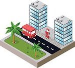Toy Block,Isometric,Urban Scene,Skyscraper,Vector,City,Residential District,Bus,Street,Building - Activity,Architecture,Palm Tree,Apartment