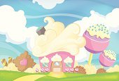 Cupcake,Hansel,Cloudscape,Ice Cream,Cloud - Sky,Liquorice Candy,Home Interior,House,Lollipop,Judy Puppet,Ornamental Garden,Flower Bed,Formal Garden,Beige,Cute,Wafer,Residential Structure,Dessert,Street,Biscuit,Sweet Food,Cookie,Cream,Door,Sky,Green Color,Blue,Pink Color