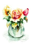 Watercolor Painting,Flower,Rose - Flower,Flowering Plant,Flower Head,Bowl,Vase,Painted Image,Flower Arrangement,Ilustration,Image