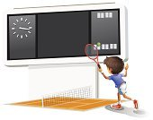 Scoreboard,Action,One Person,Computer Graphic,Small,Backgrounds,Sport,Racket,Court,Athlete,Image,Hitting,Child,Tennis,People,Ball,Isolated,Real People,Little Boys,Cute,Net - Sports Equipment,Male,Men,Playing