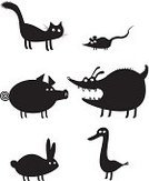 Mouse,Goose,Dog,Domestic Cat,Duck,Silhouette,Pig,Isolated,Kitten,Vector,Characters,Shape,Rabbit - Animal,Collection,Ilustration,Cartoon,Cute,Design,Pets,Animal,Symbol,Bird,Domestic Animals,Cheerful,Design Element,Elegance,Fun,Humor,Computer Graphic,Farm,cute animals,Black Color,Nature,Drawing - Art Product,Mammal,Tail,Image,Set