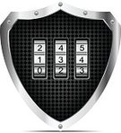 Ideas,Protection,Concepts,Ilustration,Shield,Security System,Coding,Lock,Concepts And Idea,Law Enforcement And Crime,Isolated,Chrome,Vector,Black Color,Technology,armored,Business Symbols,Technology Symbols,Business,Industry,Number,Steel,Closed,Combination Lock