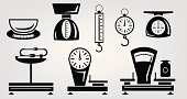 Weight Scale,Scale,Springs,Weights,Domestic Kitchen,Symbol,Machine Part,Single Object,Collection,Ilustration,Vector,Set,weighting,Dial,Design,weigher,Isolated,Design Element,Image,Business,Retail,Computer Graphic