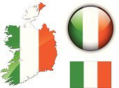 Republic of Ireland,Map,Vector,Interface Icons,Flag,Country - Geographic Area,Irish Flag,Color Image,Ilustration