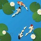 Koi Carp,Lotus Water Lily,Swimming Animal,Pair,Japanese Culture,Blue,Nature,Asia,Pond,Fish,Flower,Red,Japan,Ilustration,Leaf,Plant,Animal,Water,Sea Life,Beauty In Nature,Backgrounds,East Asian Culture,Zen-like,Tranquil Scene