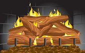 Fireplace,Log,Fire - Natural Phenomenon,Cartoon,Winter,Flame,Wood - Material,Coal,Vector,Arranging,Symbol,Burning,Backgrounds,Brick Wall,Ilustration,Smoke - Physical Structure,Heat - Temperature,Sign,Nature,Objects/Equipment,Illustrations And Vector Art,Light - Natural Phenomenon,Cold - Termperature,Lightweight
