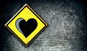 Sign,Road Sign,Symbol,illustrated,D.J. White,shaped,Old-fashioned,Yellow,Computer Graphic,Modern Rock,Backgrounds,Romance,Shape,Love,Asphalt