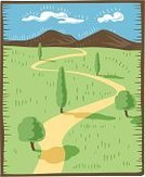 Winding Road,Road,Mountain,Rural Scene,Ilustration,Tree,Mountain Range,Non-Urban Scene,Landscape,Looking At View,Summer,Scenics,blue sky,Panoramic,Vector,Landscapes,Visual Art,Arts And Entertainment,Grass,Nature,Travel Locations