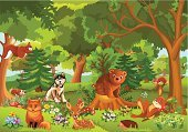 Rabbit - Animal,Landscape,Forest,Hedgehog,Fairy Tale,Squirrel,Cartoon,Animal,Fox,Vector,Non-Urban Scene,Leaf,Flower,Beauty In Nature,Nature,Meadow,Animals In The Wild,Springtime,Wolf,Fir Tree,Grass,Ilustration,Green Color,Bear,Plant,Deer,Summer,Freshness,Tree,Mushroom,Relaxation,Purity,Tranquil Scene,Botany,Idyllic