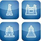 Eiffel Tower,Bridge - Man Made Structure,Pagoda,Tower,Built Structure,Symbol,Sign,Architecture,Famous Place,Palace Of Culture And Science,Vector,Tower Bridge,Skyscraper,White,Blue