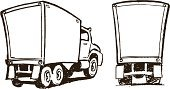 Moving Van,Rear View,Truck,Delivery Van,Commercial Land Vehicle,Cartoon,Set,Collection,Arrangement,Group of Objects,Copy Space,Black And White,Freight Transportation,Side View,Land Vehicle,Mode of Transport
