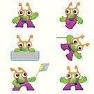 Cheerful,Emotion,Kite - Toy,Set,Fun,Cute,Ilustration,Cartoon,Monster,Alien,Characters