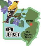 New Jersey,USA,Travel,Label,Map,Tourism,Luggage Sticker,Beach,East Coast,Bird,US State Border,Travel Sticker,Gold Finch,Trenton - New Jersey,Capital Cities,Luggage Tag,Violet,Vacations
