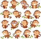 Ape,Monkey,Young Animal,Cute,Animal,Characters,Tropical Rainforest,Cartoon,Smiling,Set,Swinging,Forest,Childhood,Playful,Cheerful,Vector,Fun,Humor,Happiness,Tree,Eps10,Standing,Ilustration,Collection,Design,Safari Animals,Baby Monkeys,Clip Art,Baboon,Wildlife,Animals In The Wild,Leaf,Celebration,Friendship,Nature,Plan,Sitting,Mammal,Innocence,Design Element,Ornate,Chimpanzee