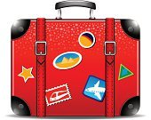 No People,Luggage,Sign,Travel Destinations,Vector,Painted Image,Symbol,Vacations,Suitcase,Travel,Image,Handle,Ilustration,Isolated,Single Object,Cruise,Tourism,Front View,Red,Journey,Computer Icon,Label,Black Color,Old-fashioned,Isolated On White,Bag,Briefcase,Color Image