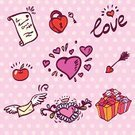 Key,Heart Suit,Human Heart,Romance,Love,Gift,Wing,Apple - Fruit,Door Chain,Scroll,Vector,Holiday,Scroll