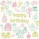 Ilustration,Vector,Birthday,Text,Balloon,Cake,Icon Set,Candle,Clown,Doodle,Color Image,Owl,Gift