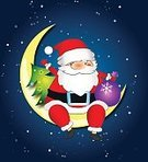 Santa Claus,Dreamlike,Happiness,Backgrounds,Greeting,Vector,Ilustration,Cartoon,Red,Pattern,December,Year,Christmas,Design,Winter,Moon,Night