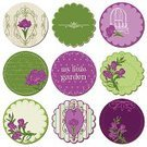 Vector,Ilustration,Green Color,Flower,Purple,Old-fashioned,Color Image,Single Flower,Floral Pattern,Label