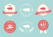 Pig,Vector,Pork,Rubber Stamp,Silhouette,Sign,Label,Farm,Meat,Retro Revival,Butcher's Shop,Ilustration,Diagram,Barbecue Grill,Animal,Grilled,Food,Computer Icon,Organic,Design Element,Symbol,Cross Section,Collection,Menu,template,Badge,Chopping,Bacon,1940-1980 Retro-Styled Imagery,Crown,Market,Meat Cleaver,Insignia,Circle,Store,Award Ribbon,Flame,Text,Ribbon,Isolated,butchery,Packaging