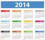 2014,Calendar,Vector,template,Year,Colors,Computer Icon,Isolated,Isolated On White,Equipment,Illustrations And Vector Art,Frame,White Background,2014 Year,Calendar Date,Group of Objects,Month,Day