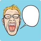 Cartoon,Men,Young Men,Human Face,Screaming,Terrified,Horror,One Person,Portrait,Caricature,Shouting,Ilustration,Speech Bubble,Adult,Speech,People,Outline,Emotional Stress,Humor,Isolated On Blue,Clip Art,Nerd,Emotion,Bizarre,Caucasian Ethnicity,Characters,Vector,Male,Eyeglasses,Eccentric,Surprise,Isolated,Human Head,Negative Emotion,Shock,Stubble