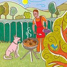 barbeques,Care,Day,Front or Back Yard,bbqing,barbequing,Enjoyment,20th Century Style,Color Image,Dog,Barbecue,Cooking,Apron