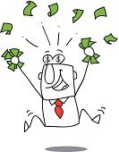 Ecstatic,One Person,Jumping,Businessman,Laughing,Bank,Cheerful,Home Finances,Savings,Business,People,Male,Men,Making Money,Success,Aspirations,Finance,earnings,Stock Market,Smiling,Standing,Dollar Sign,Currency,Falling,Vector,United Kingdom Bingo,Professional Dealer,Isolated,Commissioner,Excitement,Caricature,Courtier,Full Length,Happiness,earn,Wealth,Luck,Winning,Cartoon,Coin,Paper Currency,Commercial Activity,Fortune Telling,Bookmaker,materialistic,Lottery,Dollar,Bill