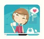 Women,Day Dreaming,Coffee - Drink,Dreamlike,Office Interior,Telephone,Businesswoman,Love,Human Hand,Vector,Human Eye,Heart Shape,Real People,Female,City,Characters,Fashion,Cute,Human Hair,Hairstyle,Heat - Temperature,Elegance,Window,Modern,Blue,Togetherness,Vanity,Steam,Beauty,Hot Drink,Cool,Perfection,Beauty In Nature