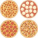 Pizza,Sausage,Vector,Pepperoni,Cheese,Icon Set,Salami,Olive,Onion,Food,Barbecue,Clip Art,Green Bell Pepper,Large Group of Objects,Ilustration,Color Image,Chicken