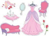 Princess,Dress,Perfume,Shoe,Mirror,Chair,Rose - Flower,Label,Vector,Ilustration,Chaise Longue,Color Image,Pink Color