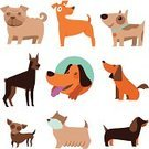 Dog,Symbol,Dachshund,Animal,Brown,Collection,Pets,Purebred Dog,Ilustration,Terrier,Canine,Living Organism,Doberman Pinscher,Friendship,Sign,Vector,Puppy,Mascot,Pug,Cute