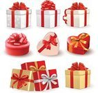 Vector,Bow,Ribbon,Gift,Red,Ilustration,Gold Colored