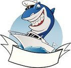 Water Sport,Cartoon,Shark,Sailing,Fish,Sea,Nautical Vessel,Wave,Sport,Yachting,Characters,Travel,Vector,Ilustration,Smiling,Blue