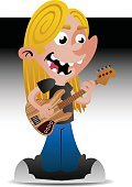 Cheerful,Long Hair,Guitar,Happiness,Music,Vector,Little Boys,Men,Rock and Roll