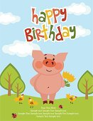 Vector,Pig,Gift,Birthday,Sweet Food,Party - Social Event,Old-fashioned,Label,Ornate,Anniversary,Cute,Greeting Card,Modern Rock,Greeting
