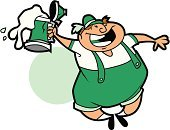 Beer - Alcohol,St. Patrick's Day,Clip Art,Isolated,Isolated On White,Cheerful,Happiness,Ilustration,Vector,Leprechaun,Beer Stein,Color Image,White Background