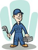 Mechanic,Retro Revival,Men,Plumber,Maintenance Engineer,Repairman,Working,Manual Worker,Standing,Smiling,Cartoon,Caucasian Ethnicity,Adult,Uniform,Job - Religious Figure,Toolbox,People,Full Length,One Person,Emotion,Wrench,Characters,Vector,Male,Cap,Humor,Clip Art,Protective Workwear,Occupation,Ilustration