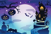 Silhouette,House,Halloween,Spooky,Moon,Landscape,Light - Natural Phenomenon,Bat - Animal,Branch,October,Mystery,Mansion,Season,Wing,Pumpkin,Design,Tombstone,Grave,Computer Graphic,Art,Backgrounds,Star - Space,Holiday,Vector,Ilustration,Cartoon,Drawing - Art Product,Dusk,Moonlight,Domestic Cat,Sky,Footpath,Hill,Autumn,Night,Eps10