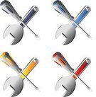 Spanner,Screwdriver,Engineer,Three-dimensional Shape,Engineering,Machine Part,Vector