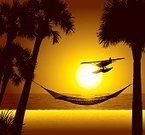 Air Vehicle,Tropical Climate,Hammock,Seaplane,Vector,Palm Tree,Beach,Sunset,Silhouette,Recreational Pursuit,Passenger Craft,Water Plane,Copy Space,Vacations,Travel,Mode of Transport,Amphibious Aircraft,People Traveling,Leisure Activity,Ilustration,Travel Destinations