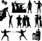 William Shakespeare,Theatrical Performance,Romeo And Juliet - Play,Stage Theater,Silhouette,Back Lit,Entertainment,Actor,Hamlet - Play,Macbeth - Fictional Character,Sword Fighting,Comedy Mask,Romance,Outline,Julius Caesar,Feather,Ilustration,Witch,Tragedy Mask,Fencing,Donkey,Classical Theater,Vector,Balcony,Characters,Writing,People